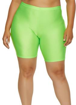 Plus Size Spandex Bike Shorts | 3960064721200 - NEON LIME - 3960064721200