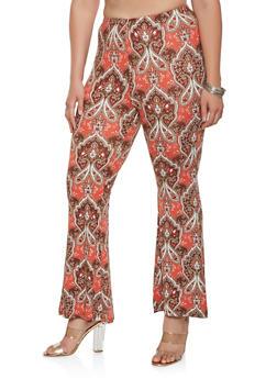 Plus Size Printed Soft Knit Pants - 3961001440164