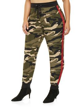 Plus Size Camo Varsity Stripe Joggers - 3961001440201