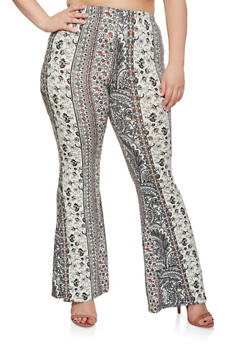 Plus Size Printed Flared Pants - 3961001440506