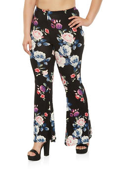 Plus Size Floral Flared Pants - 3961001440511
