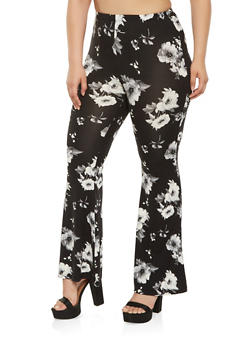 Plus Size Flared Floral Pants - 3961001440564