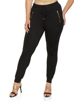 Plus Size Soft Knit Zip Pocket Joggers - 3961001441138