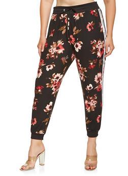Plus Size Floral Varsity Stripe Joggers - 3961001441315