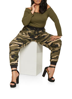 Plus Size Camo Soft Knit Joggers - 3961001441320