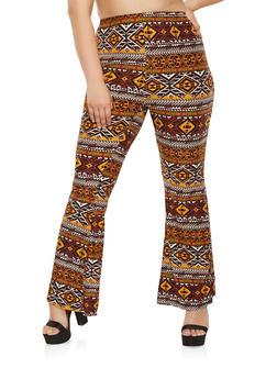 Plus Size Aztec Print Flared Pants - 3961001441661