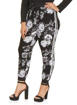 Plus Size Varsity Stripe Floral Joggers - 3961001442017