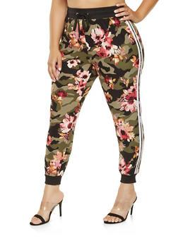 Plus Size Floral Camo Joggers - 3961001443204