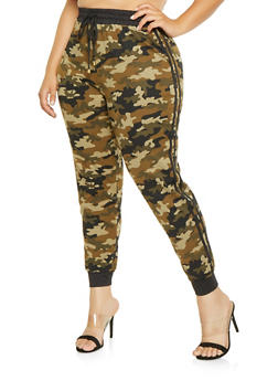 Plus Size Varsity Stripe Camo Joggers - 3961001443823