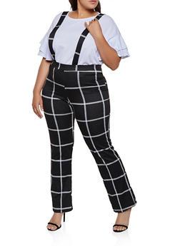Plus Size Plaid Suspender Pants - 3961020623369