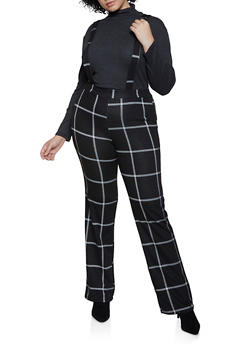 Plus Size Windowpane Suspender Pants - 3961020623370