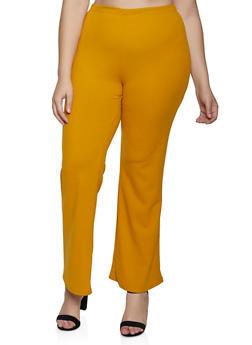 Plus Size Crepe Flared Dress Pants - 3961020624643