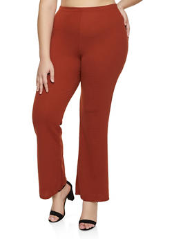 Plus Size Crepe Flared Dress Pants - 3961020624643