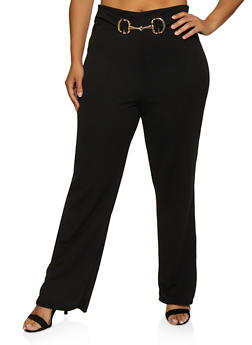 Plus Size Metallic Waist Detail Dress Pants - 3961020624903