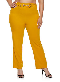 Plus Size Metallic Waist Detail Dress Pants - 3961020624903
