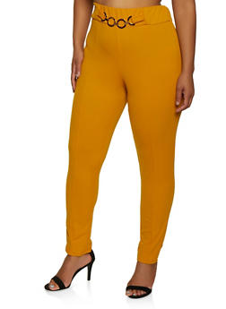 Plus Size Metallic Link Dress Pants - 3961020624919