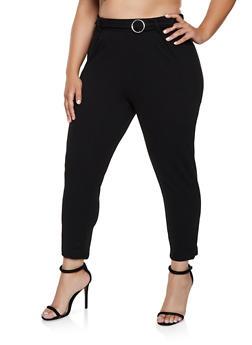 Plus Size Metallic Loop Dress Pants - 3961020624937