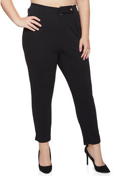 Plus Size Tabbed Button Waist Dress Pants - 3961020626462