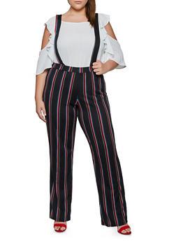 Plus Size Striped Suspender Pants - 3961020627227