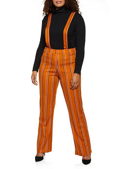 Plus Size Striped Suspender Pants - 3961020627227