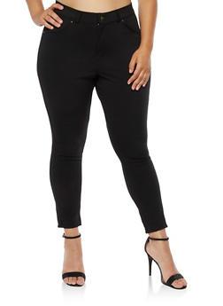 Plus Size Zip Front Jeggings - 3961038342601