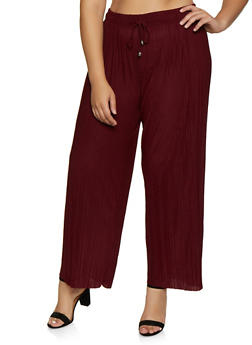 Plus Size Pleated Palazzo Pants - 3961038344908