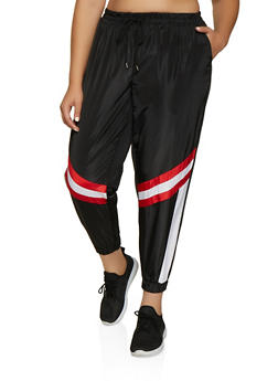 Plus Size Stripe Detail Windbreaker Joggers - 3961051060397
