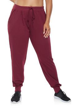 Plus Size Solid Sweatpants - 3961054265776
