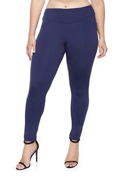 Plus Size Tummy Control Leggings - 3961056570021