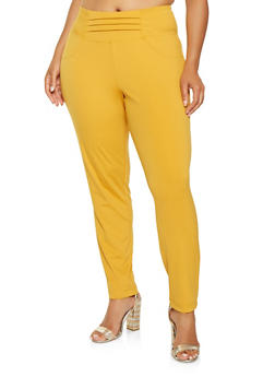 Plus Size High Waisted Pull On Pants - 3961056570022