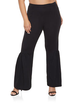 Plus Size Crepe Flared Pants - 3961056570110