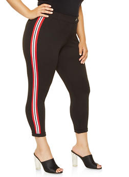 Plus Size Striped Knit Trim Dress Pants - 3961056570251
