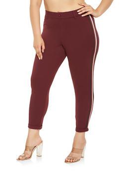 Plus Size Striped Knit Trim Dress Pants - 3961056570251