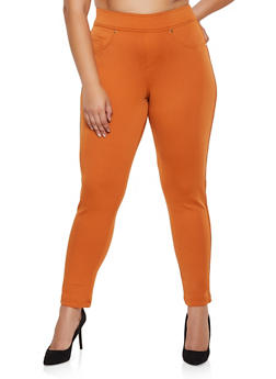 Plus Size Tummy Control Scuba Pants - 3961056571201