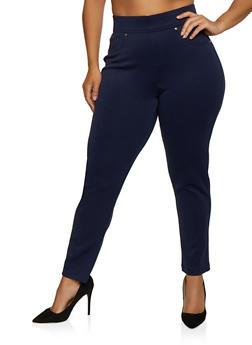 Plus Size Tummy Control Scuba Pants - 3961056571201