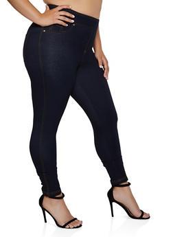 Plus Size Denim Knit Pull On Pants - 3961056572201