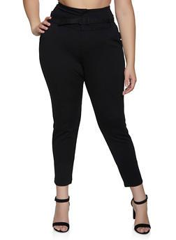 Plus Size Belted Dress Pants - 3961056575081