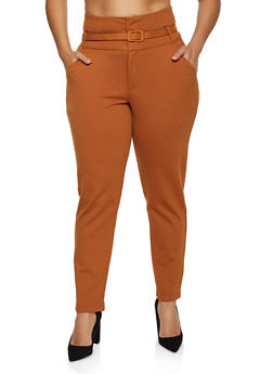 Plus Size Belted Dress Pants - 3961056575081