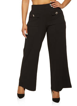 Plus Size Button Detail Dress Pants - 3961056576191