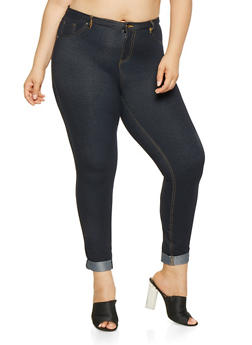 Plus Size Denim Knit Pants - 3961056577888