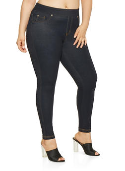 Plus Size Denim Knit Leggings - 3961056577889