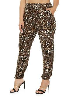 Plus Size Soft Knit Leopard Print Joggers - 3961060580017