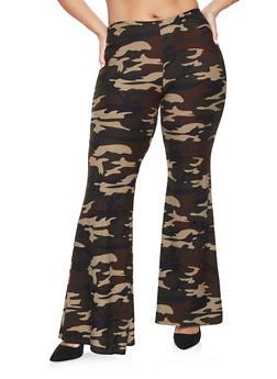 Plus Size Camo Flared Pants - 3961060580074