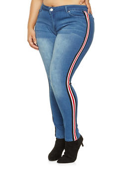 Plus Size Striped Tape Push Up Jeans - 3961060581017