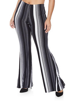 Plus Size Striped Flared Pants - 3961060583128