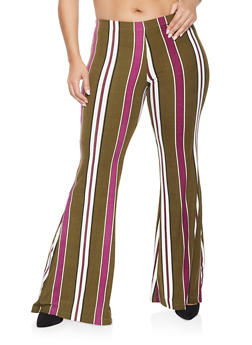 Plus Size Striped Flared Pants - 3961060583412