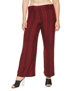 Plus Size Striped Palazzo Pants - 3961060583418