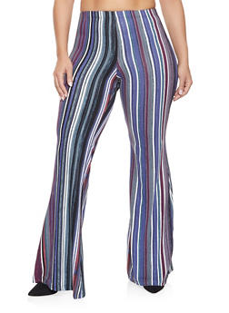 Plus Size Striped Flared Pants - 3961060583503