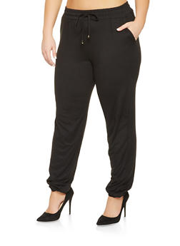 Plus Size Solid Joggers - 3961060586650