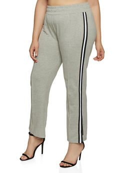 Plus Size Tape Trim Sweatpants - 3961061633009